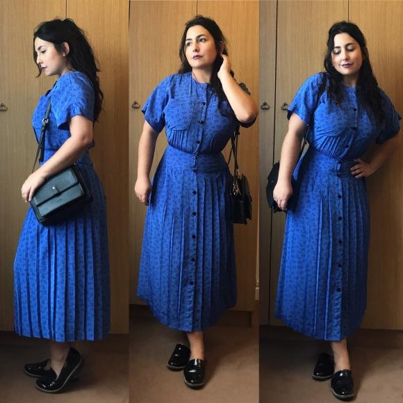 Look do dia: Vestido azul estilo40's